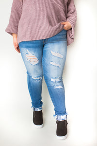 Light Wash Distressed Denim-PLUS