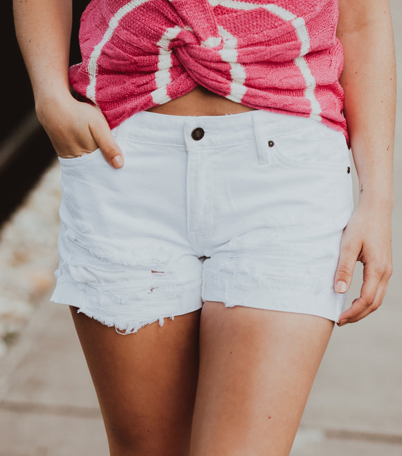 White Distressed KanCan Shorts- One XS & One MD left