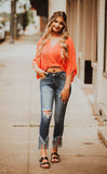 Hot Coral Flowy Crop