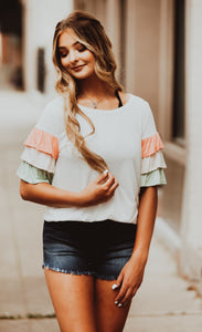 Coral & Mint Ruffle Sleeve Shirt