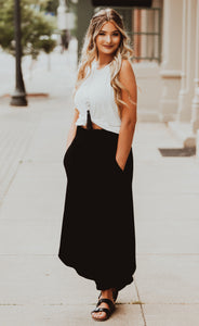 Black Smocked Maxi Skirt