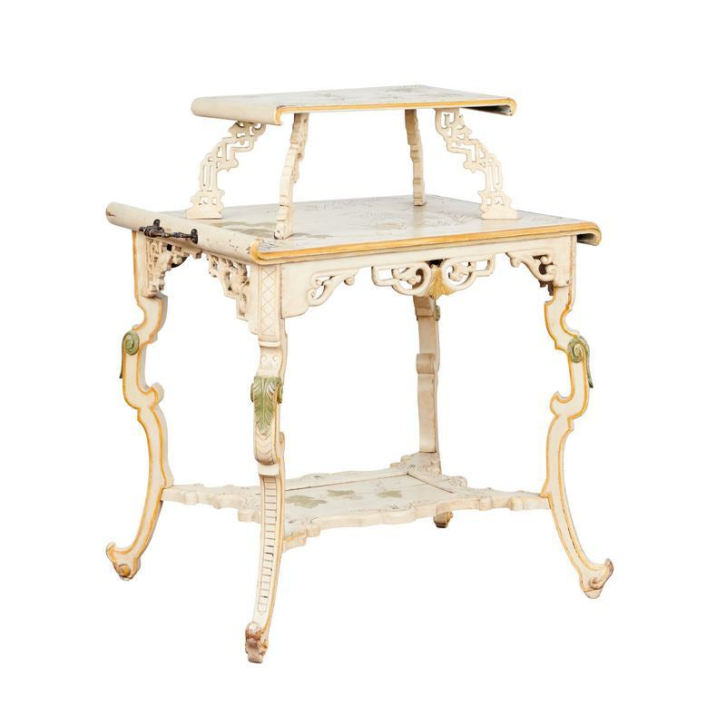 Napoleon III Hand-Painted Japonism Tiered Table