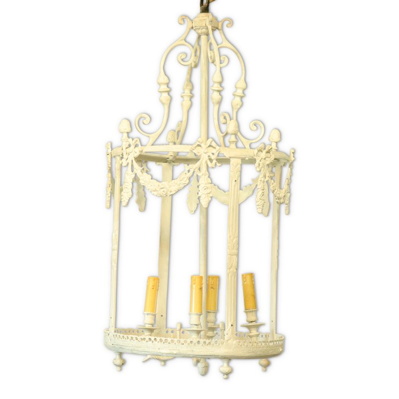 Circa 1900, Parisienne Bronze Painted Lantern / Chandelier