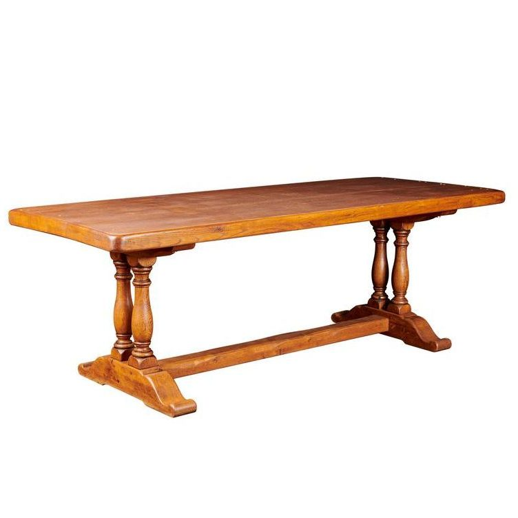 French Oak Province Column Dining Table