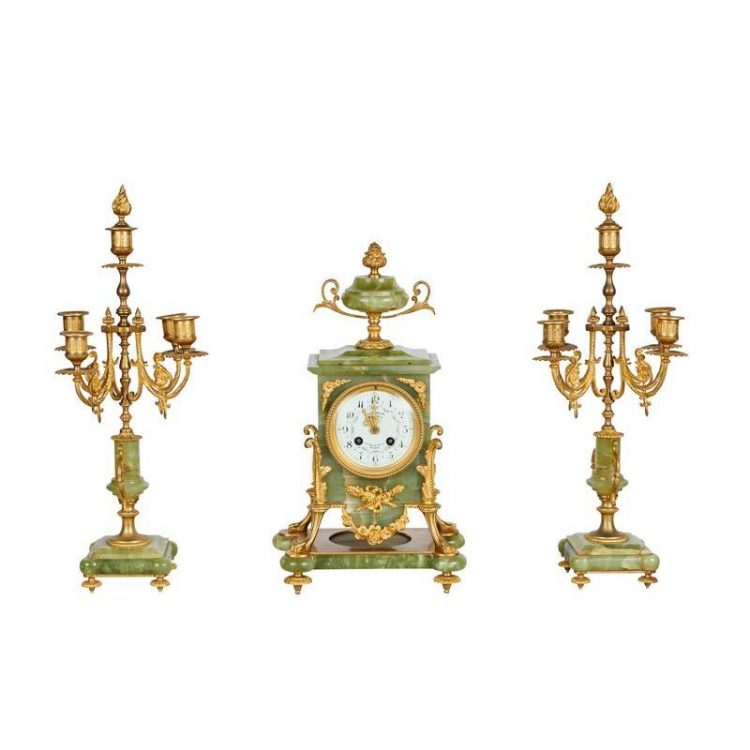 Parisienne Gilt Bronze and Onyx Mantle Clock & Candelabras, 19th C.