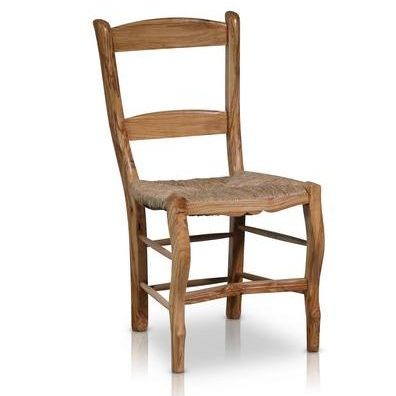 Spanish Hand-Crafted Olive Wood, Rush Seating Dining Chair
