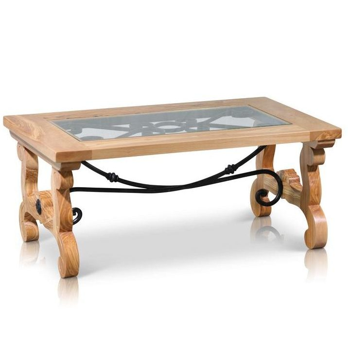 Spanish Olive Wood and Iron Rustic Designer Coffee Table
