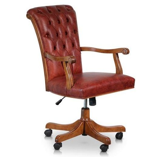 Italian Walnut and Calf Leather Designer Office Chair