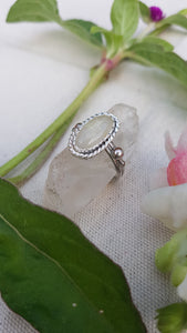 Oval rutile Quartz Sterling silver statement ring by Wandering Moth Jewelry