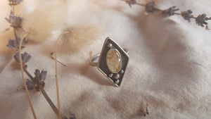Rutile Quartz handcrafted sterling silver statement ring