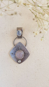 Double Moonstone Sterling Silver Amulet