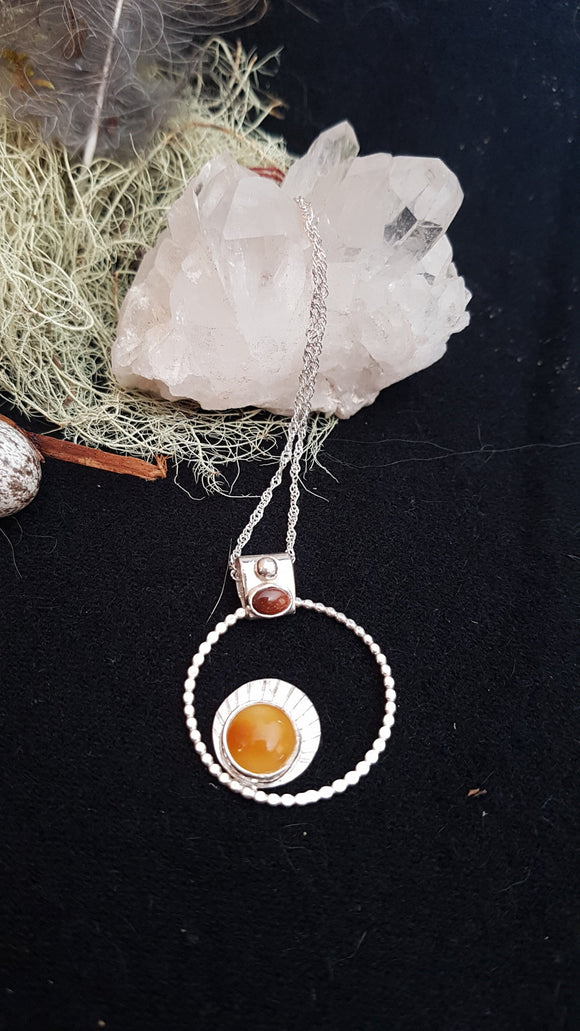Baltic Amber and Goldstone Sterling Silver Amulet