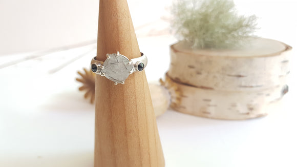 Faceted Square Tourmilated Quartz & Faceted Black Spinel Sterling Silver Ring l