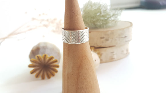 Geometric Textured Sterling Silver Ring