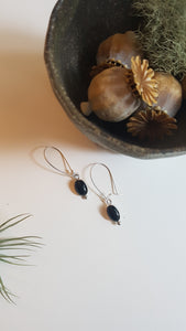 Black Onyx Closed Loop Sterling Silver Earrings