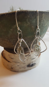 Sterling Silver Wire Wrapped Phantom Quartz Earrings