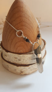 Phantom Quartz with Pyrite & Onyx Beads Sterling Silver Necklace
