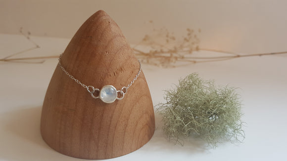 Round Rainbow Moonstone Sterling Silver Bracelet