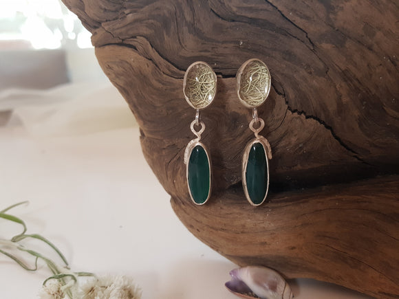 Green Agate and Lichen stud Earrings