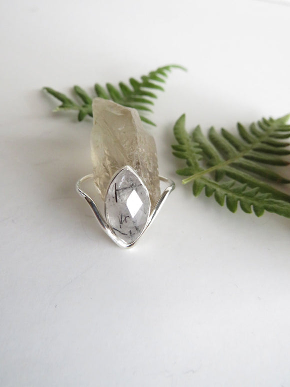 Marquise cut Tourmilated Quartz Sterling Silver Ring