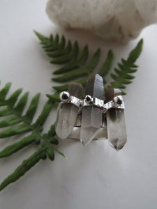 Phantom Quartz Points Sterling Silver Ring