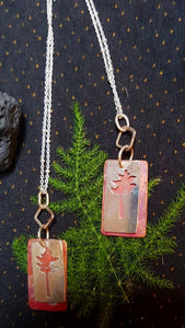 Copper and Sterling Silver Pine Tree Necklace