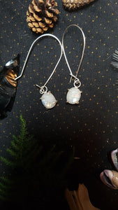Faceted Rainbow Moonstone Sterling Silver Earrings