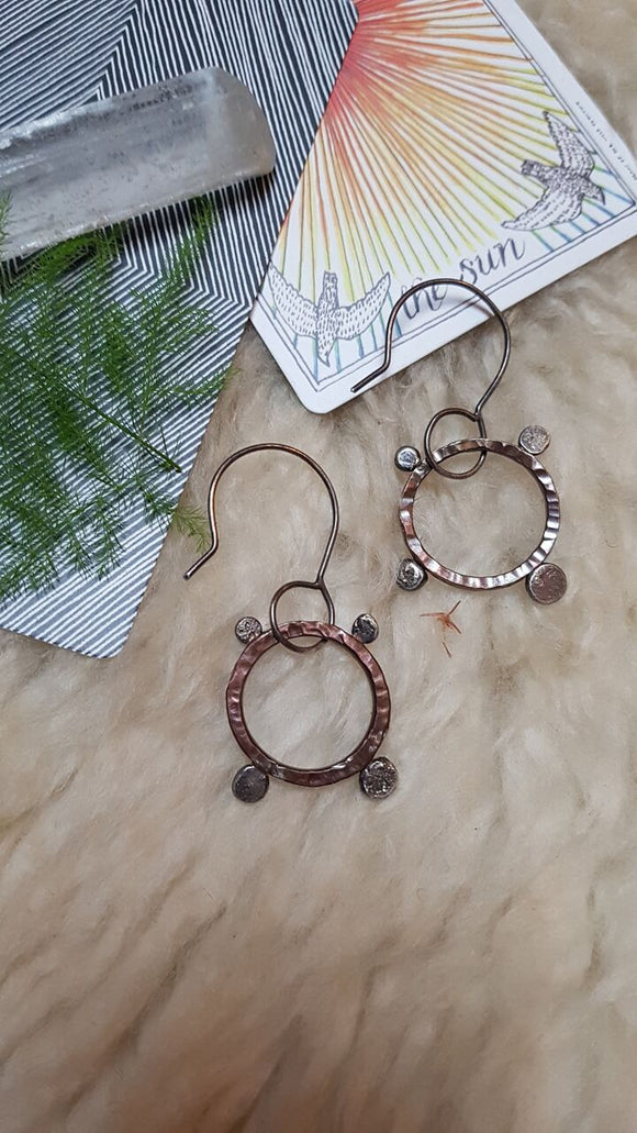 Saturns Orbit Bronze and Sterling Silver Earrings