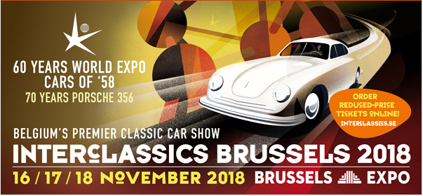 Visit us at Interclassics Brussels  November 16/17/18 - 2018