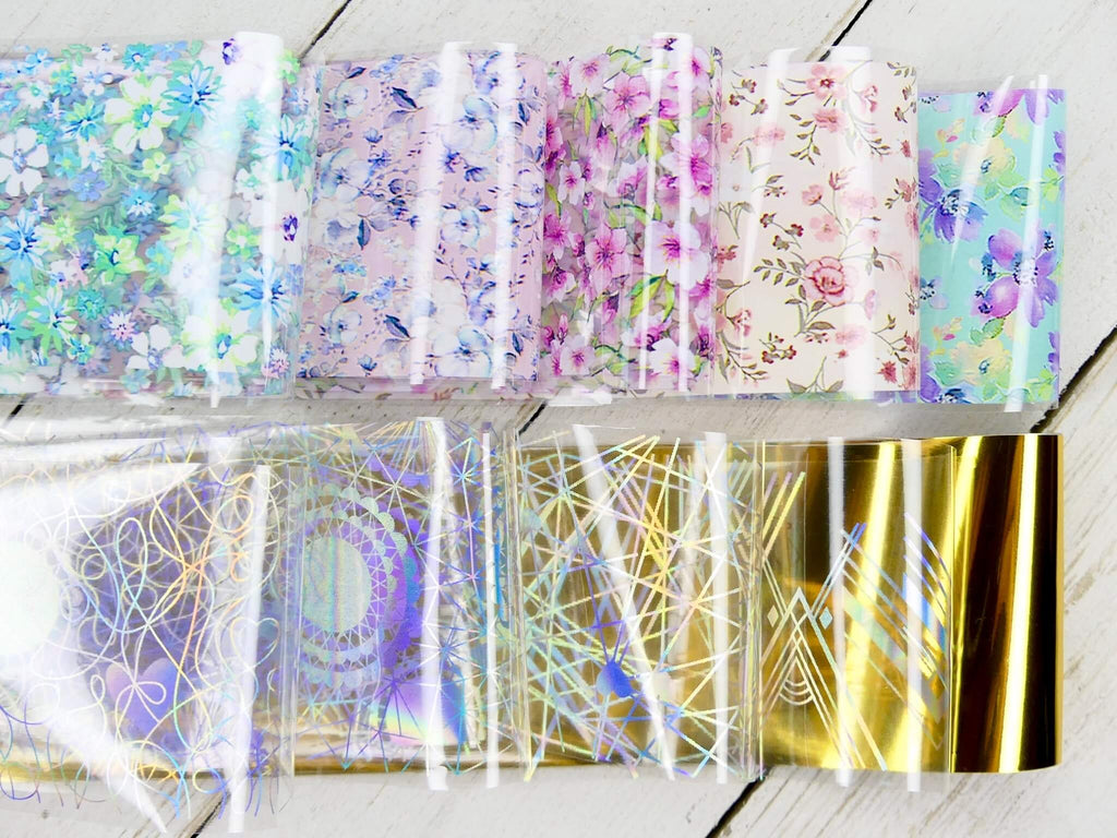 Transfer Foil Holographic & Flowers - Box Set of 10 - My Little Nail Art Shop