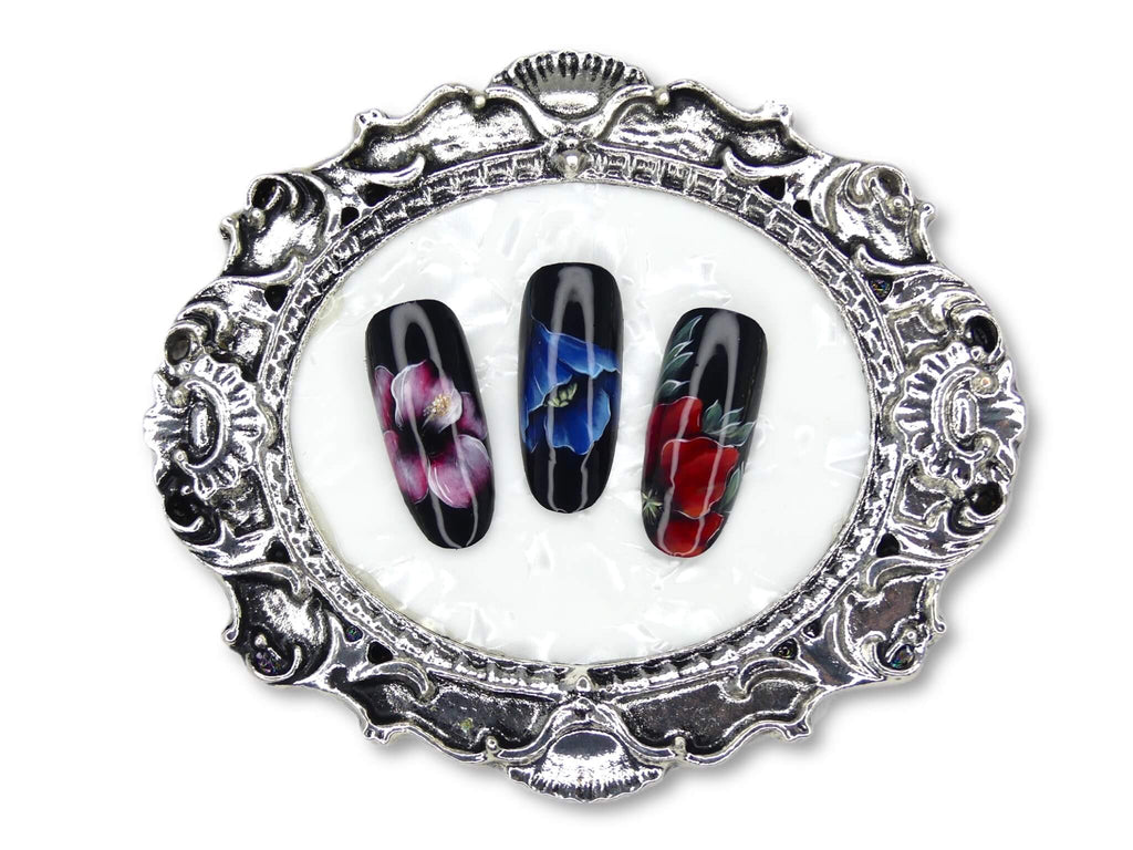 Nail Art Display Plate -Metallic Silver, Oval - My Little Nail Art Shop