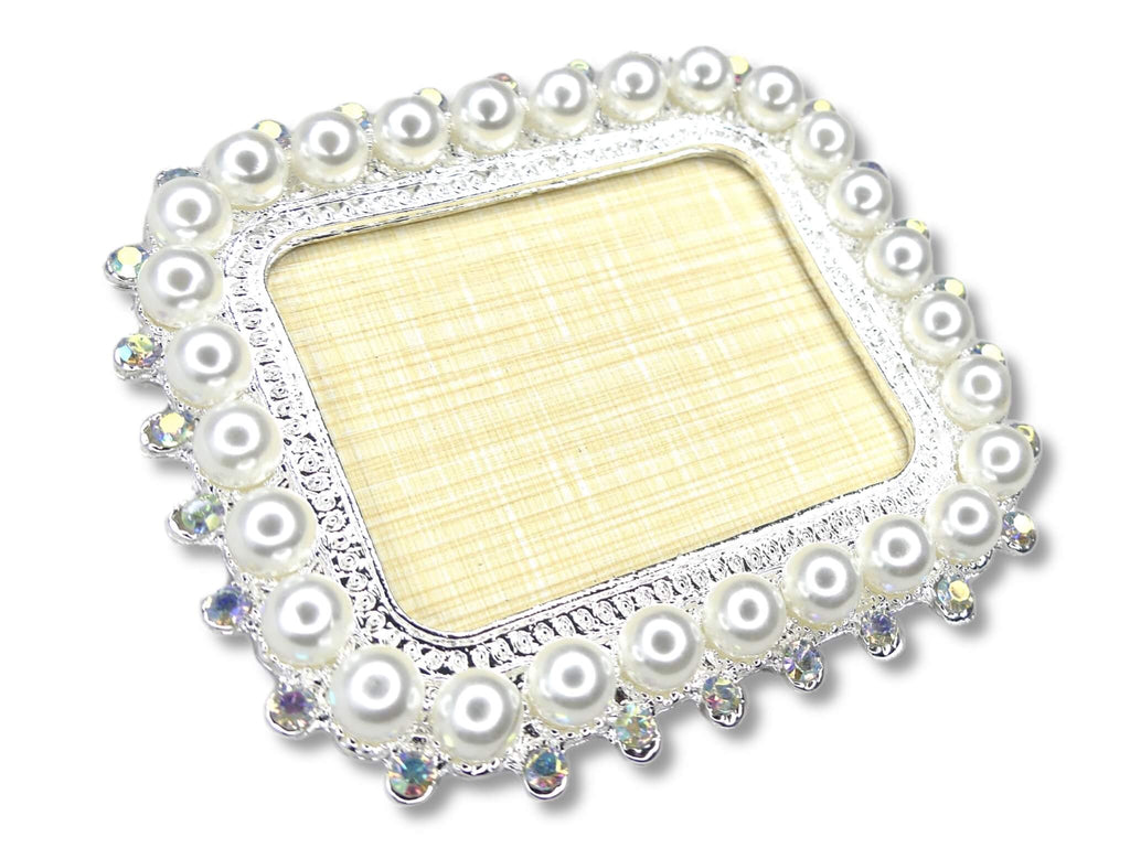 Nail Art Display Plate - Big Pearls, Silver Rectangle - My Little Nail Art Shop