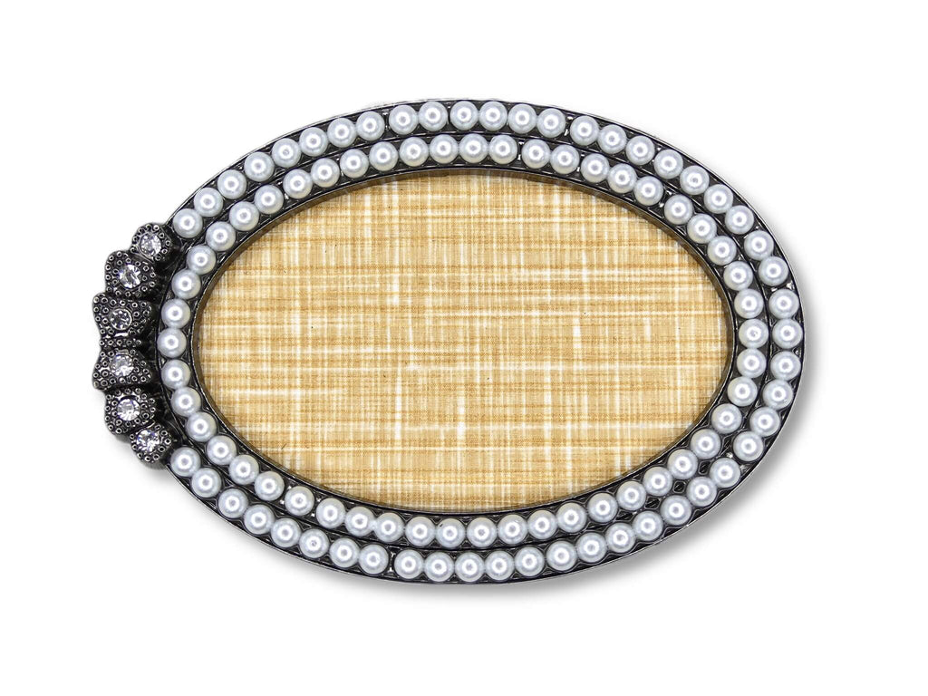 Nail Art Display Plate - Small Pearls, Black Oval - My Little Nail Art Shop