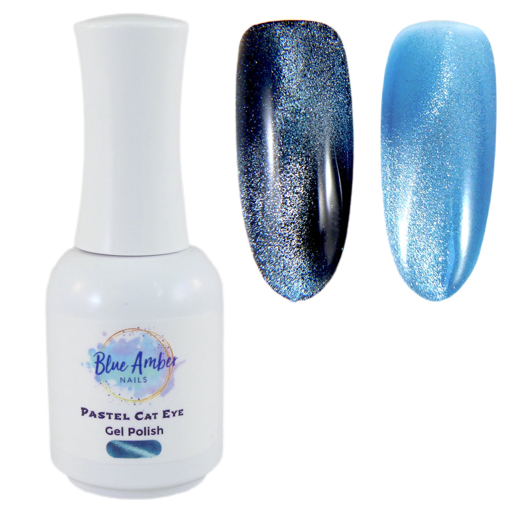 Pastel Cat Eye Gel Polish - Blue - My Little Nail Art Shop