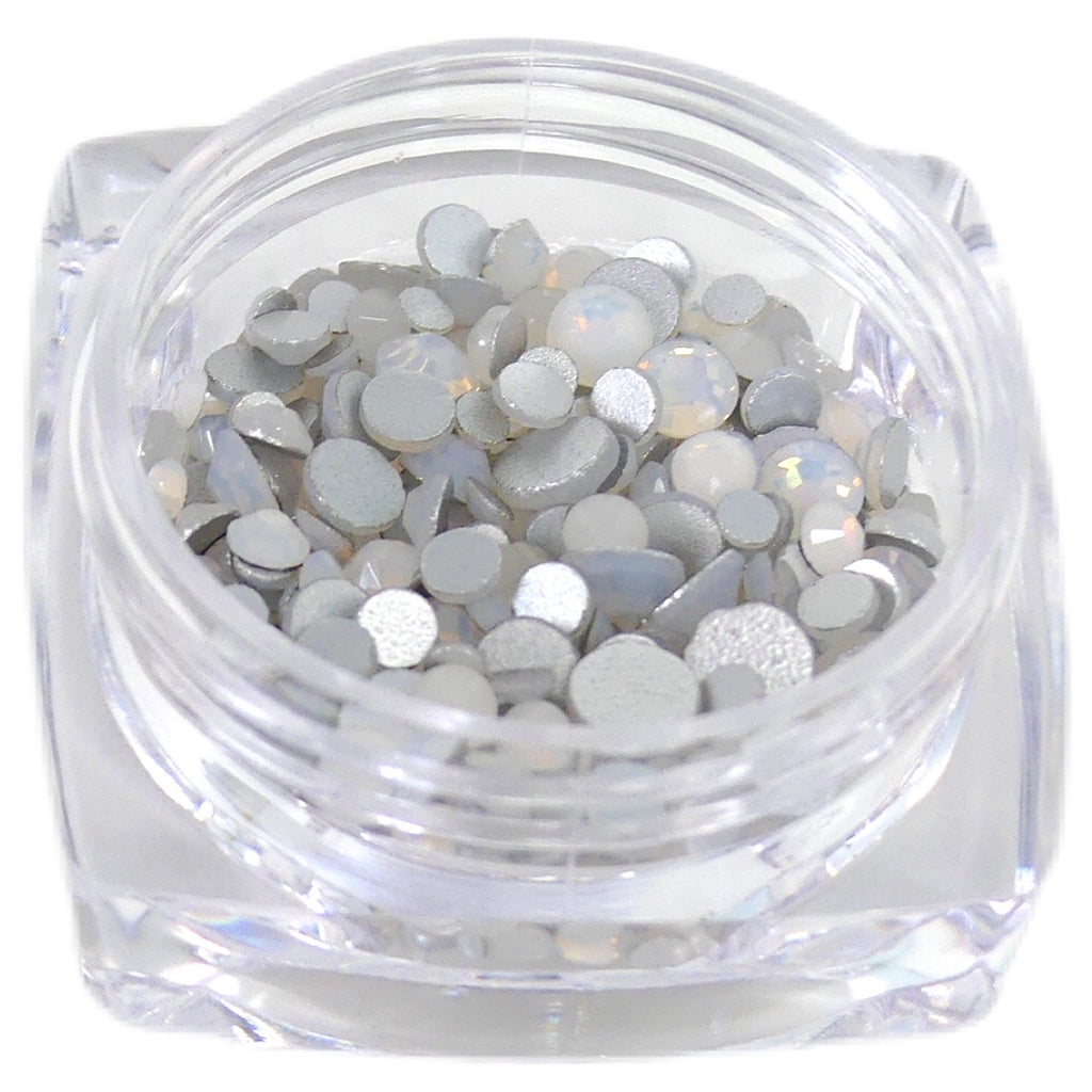 White Opal Flatback Rhinestones - My Little Nail Art Shop