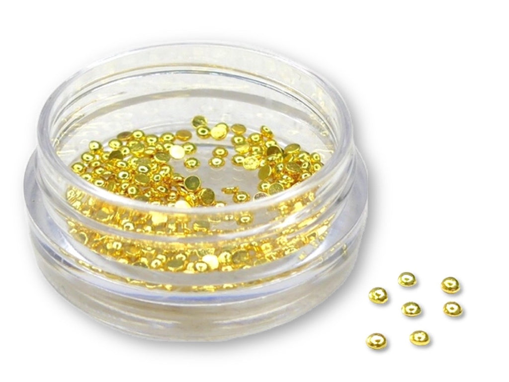 Metal Half Pearls for Nail Art - Gold M - My Little Nail Art Shop