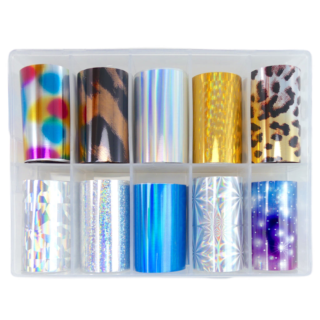 Transfer Foil Vibrant Holographics & Animal Prints - Box Set of 10 - My Little Nail Art Shop
