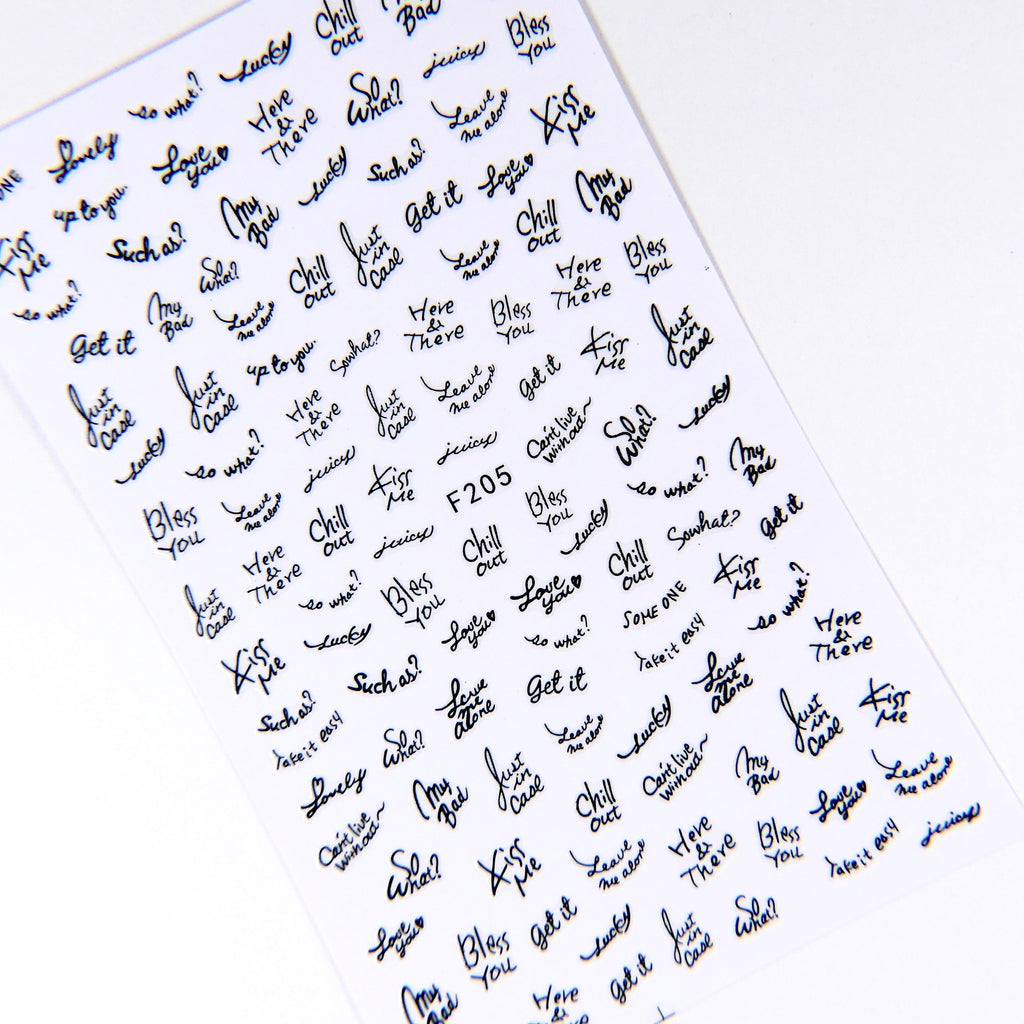 Cursive Words (Black) Sticker #12 - My Little Nail Art Shop