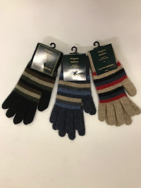 Lothlorian Women's Possum Merino Multi Striped Glove