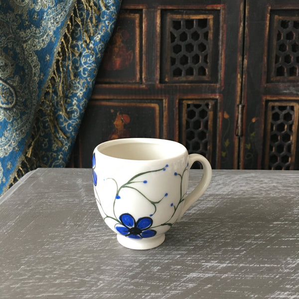 Espresso / Turkish Coffee Cup in Blue Plumflowers