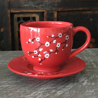 Espresso / Turkish Coffee Cup in White Cherry Blossom w/Saucer