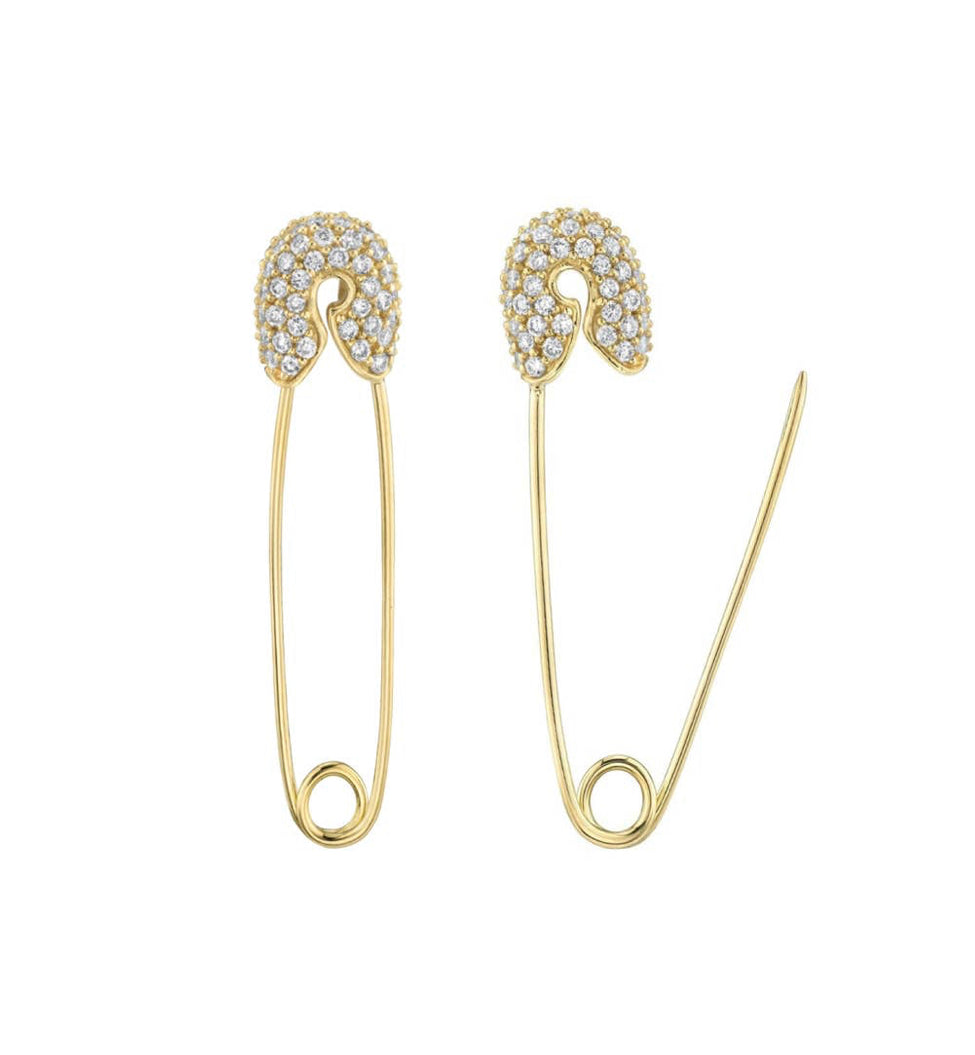 CZ Diamond Safety Pin Earrings - 14K Gold