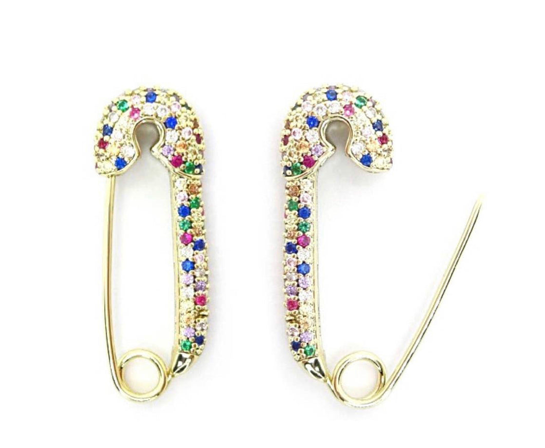 CZ Rainbow Safety Pin Earrings