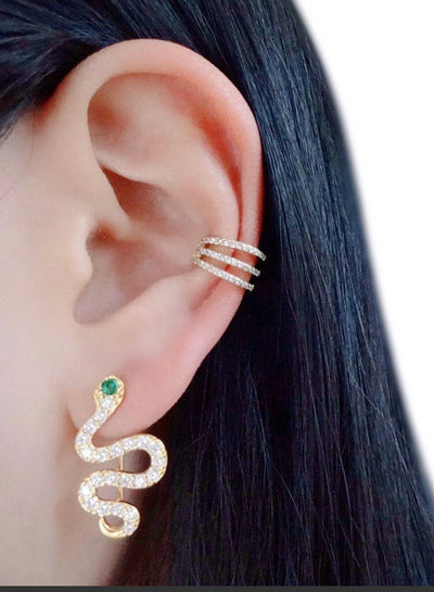 Green Eyes CZ Snake Ear Climbers 18K Gold earrings