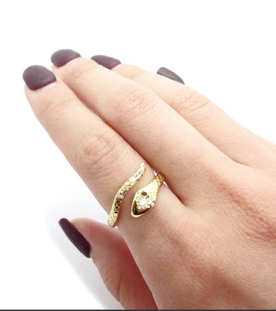 Snake CZ Diamond Ring 14K