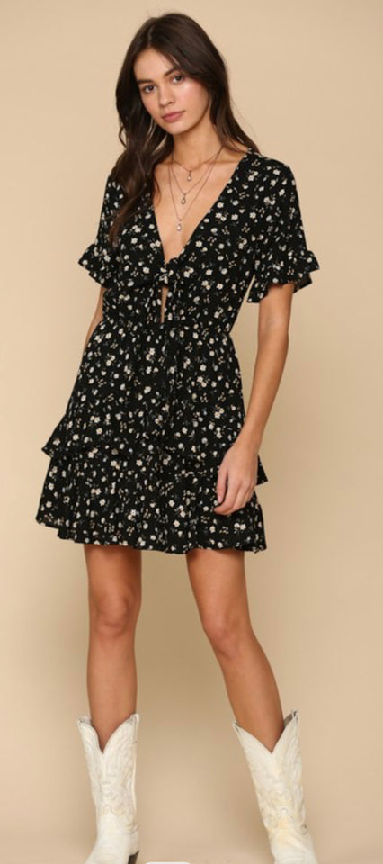 Black ruffled short sleeve front tie top with ruffled detail bottom Dress