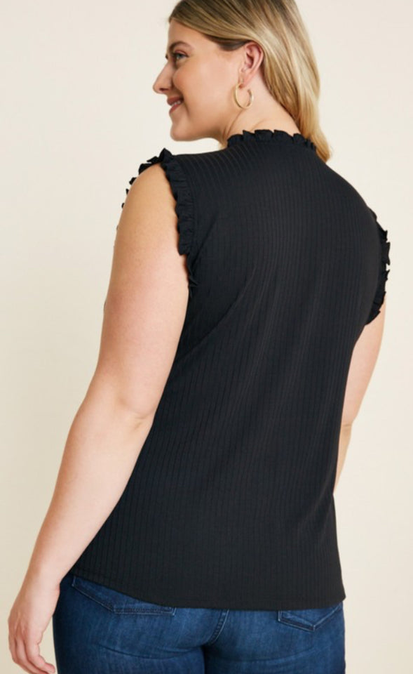 Black Ruffle High Neck Tank Top Plus Sizes Available