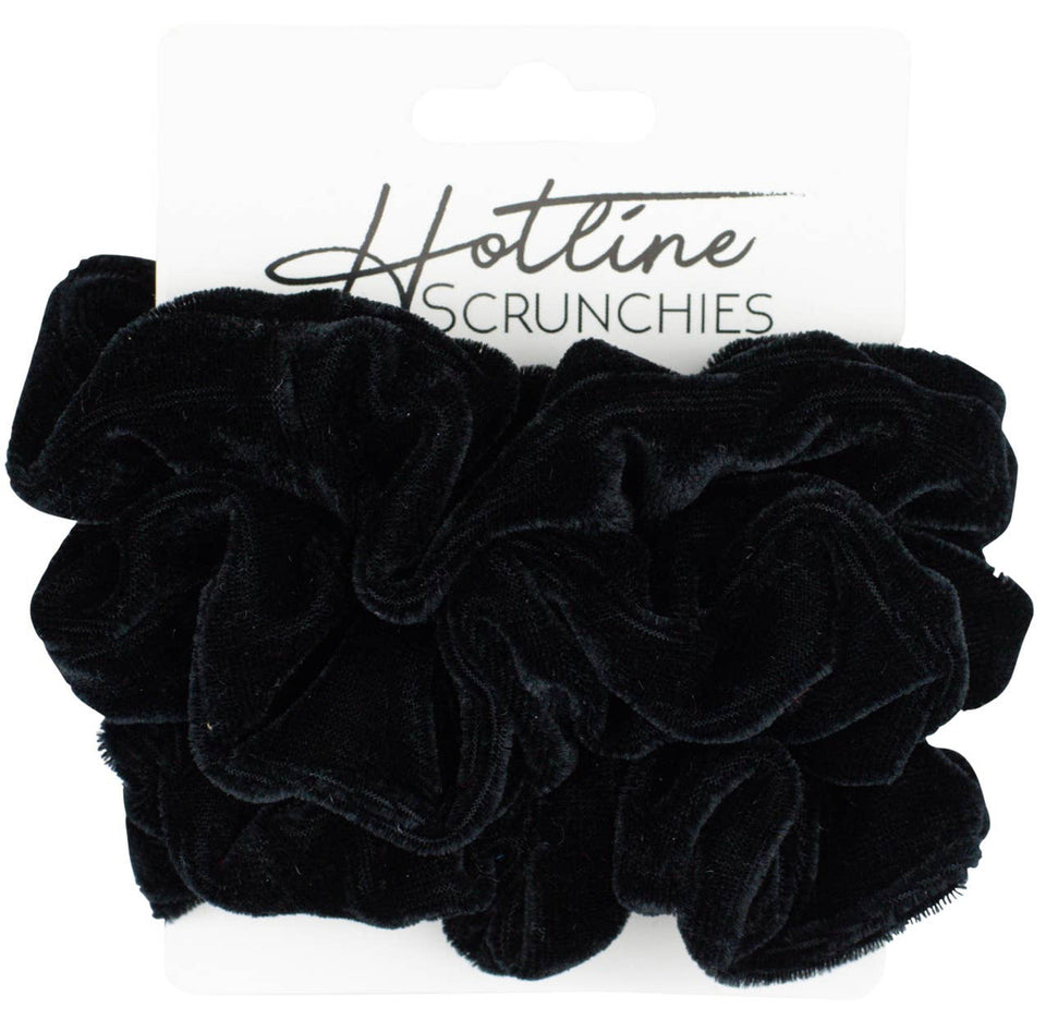 All Black Velvet Scrunchies