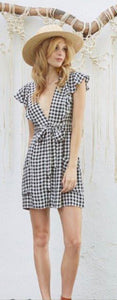 Black Gingham Ruffle Sleeve Mini Dress with Pockets by Lost Wonder