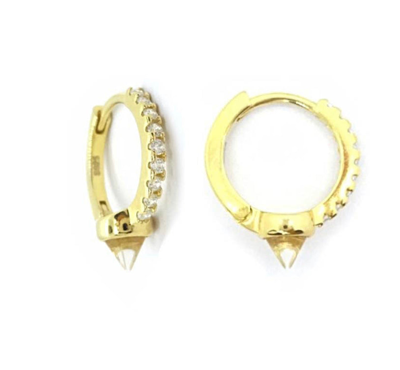 Diamond Spike Huggies Hoops